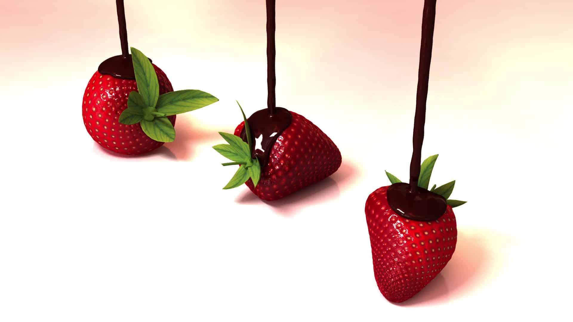 animation fl ssige schokolade mit erdbeeren geminus 3d. Black Bedroom Furniture Sets. Home Design Ideas